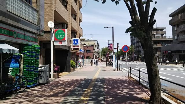歩道とコンビニ
