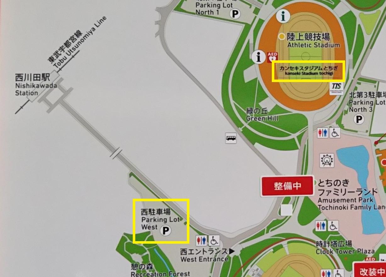カンセキスタジアム西駐車場の地図